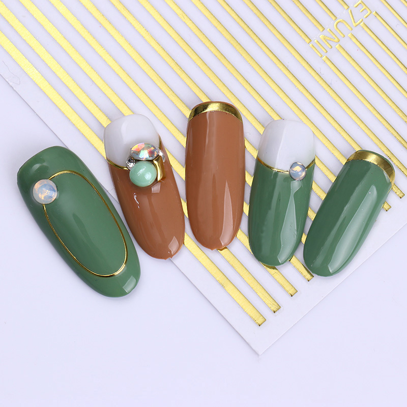 Gold Silver Metal Strip Tape 3D Nail Sticker Multi-size