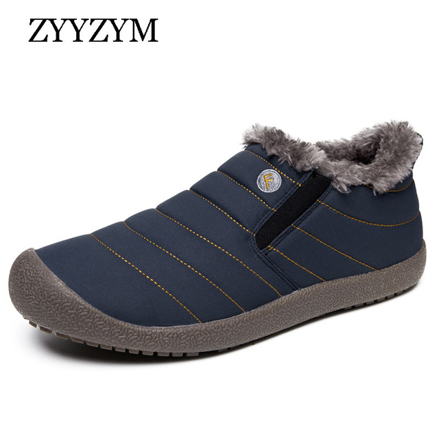ZYYZYM 2018 Men Boots Winter Keep Warm Shoes Unisex Casual Waterproof Plush Male Snow Boots Large size
