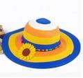 Мода красочные большой брим детские соломенная шляпа складной подсолнечное крышка девочка летние шляпы девушка шляпа солнца пляж козырек шляпа
