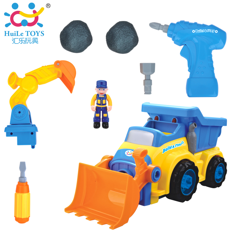 Children DIY Engineering Truck Car Models Dump car Dump Truck Model Electric Toy with Music Classic Toys For Boy Child Gifts