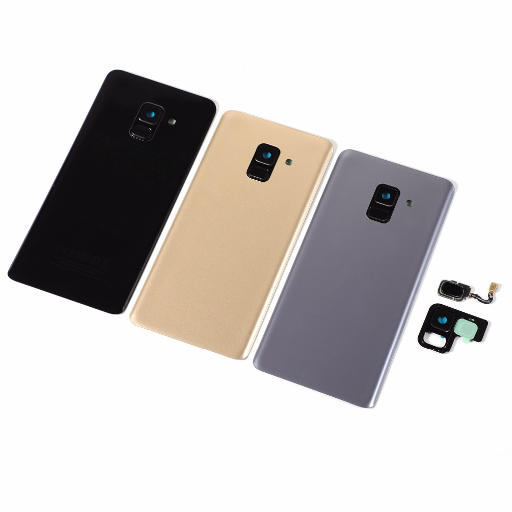 For Samsung Galaxy A8 2018 A530 SM-A530F A530F A530DS Housing Glass Battery Back Cover+Adhesive+Home Button Fingerprint