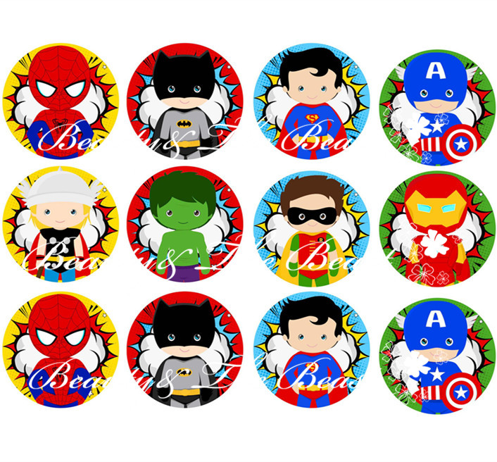 The Avengers Stickers, Superhero Cupcake Toppers,Birthday