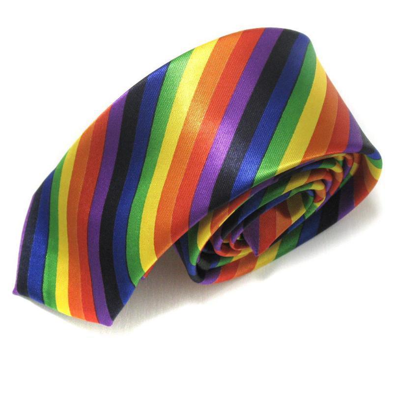HOOYI 2019 Fashion Plaid Print Stripe Rainbow Men's Slim Polyester Neck Ties