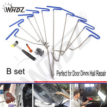 цена на WHDZ (B)10 Pieces Auto Body Dent Removal Pdr Rod Tool Kit- Hail and Door Ding Repair Starter Set & Dent Hammer Aluminum Tap Down