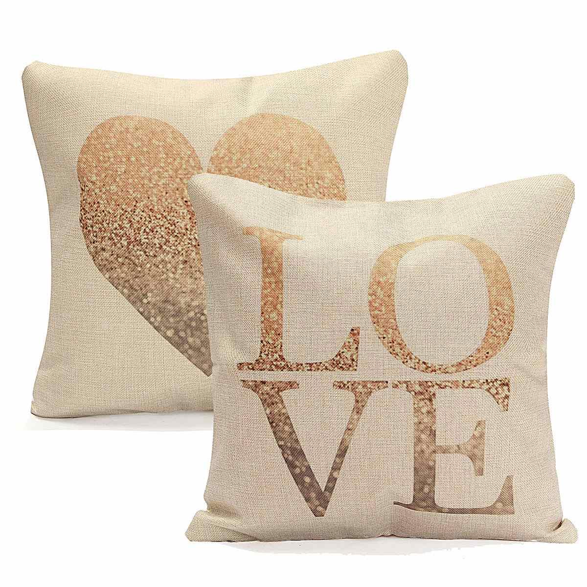 Aliexpress.com : Buy Cotton Linen LOVE Heart Pillow Case