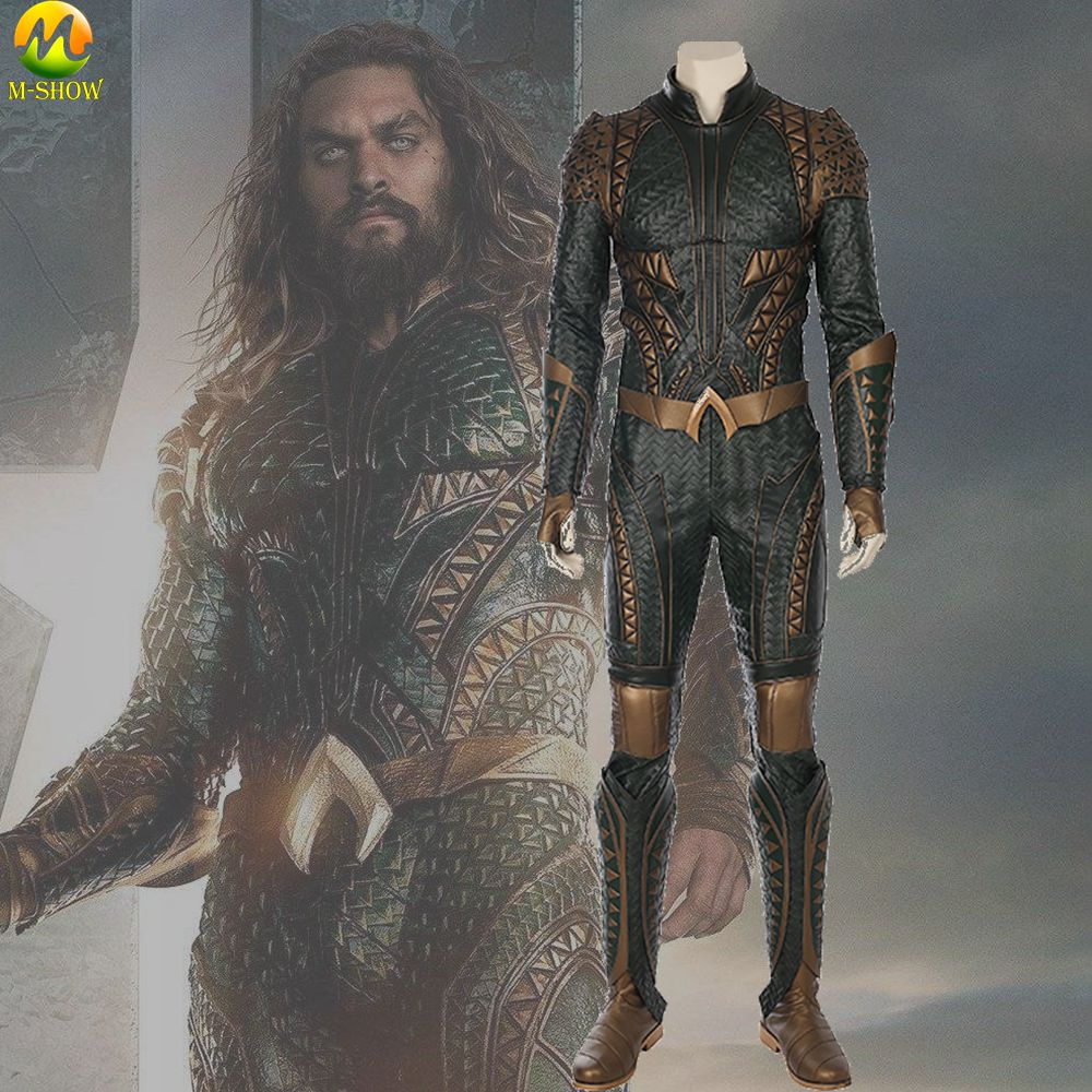 Top Quality Justice League Aquaman Cosplay Costumes Aquaman Costume Jumpsuit For Halloween Party Adult Men Fantasia Suit
