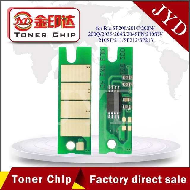 US $25 5 |SP200 cartridge reset chips compatible for Ricoh SP 200 201C 200N  200Q 203S 204S 204SFN 210SU 210SF 211 SP212 SP213 Toner chip-in Cartridge