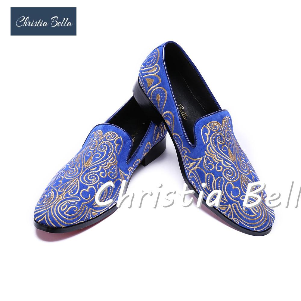 Christia Bella Brand Design Fashionable Embroidery Velvet Men Shoes Men Plus Size 38-47 Loafers Wedding and Party Shoe Men Flats цены