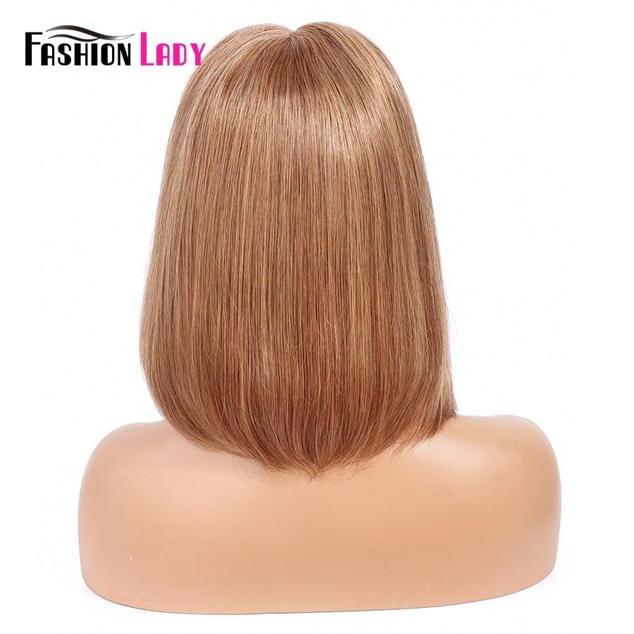 Модные женские предварительно цветные светлые парики на шнурках 8 14 бразильские прямые парики на шнурках 100% человеческие волосы парики не Реми - 4