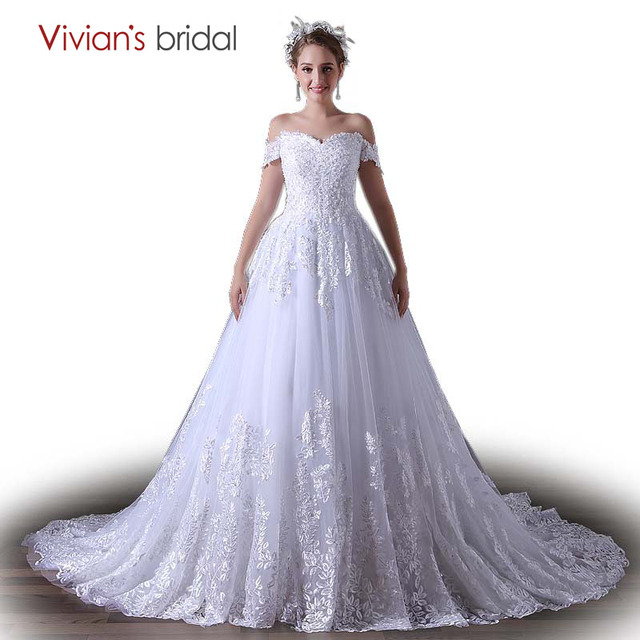 Strapless Wedding Dress A Line Vivian\'s Bridal Lace Sequin Tulle ...