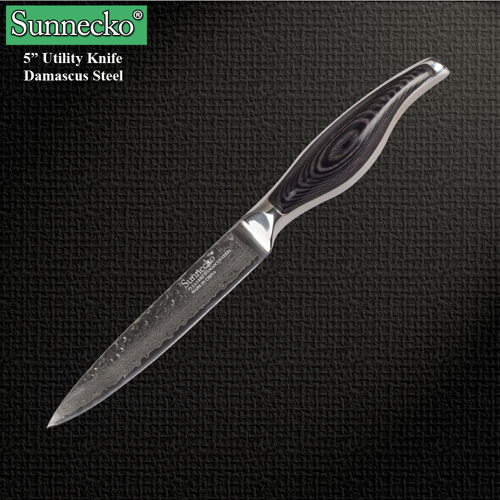Sunnecko 5PCS Damascus Steel Kitchen Knife Set Cooking Sharp Chef 39 s Utility Pearing Knives High Quality Japanese Cutting Tools in Knife Sets from Home amp Garden