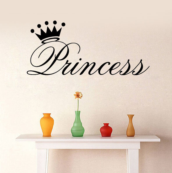 Princess Vinyl Decal Wall Sticker Words Lettering Nursery: Princess Crown Wall Stickers Decoration Wall Say Quote