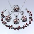 Fabulous 925 Silver Red Garnet Austria Crystal Women 4PCS Jewelry Set Ring Size 6/7/8/9/10 Bracelet 19CM Free Gift Z102