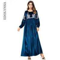 Blue Embroidery High Waist Long Sleeve Flannel Autumn Winter Dress Women Boho Large Size A Line Dress Turkish Robe Kaftan D655