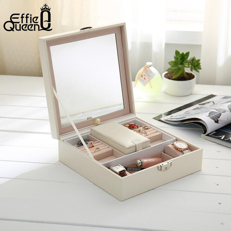 Effie Queen Jewelry Packaging Box Casket Box For Exquisite Makeup Case Cosmetics Beauty Organizer Container Boxes Gift DSO03 jewelry box european style makeup case cosmetics beauty organizer wedding birthday gift earrings necklace jewelry storage box