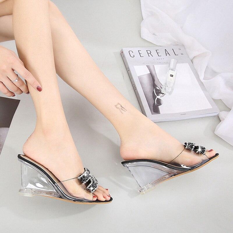 Sandals Women Slippers Shoes Wedges Heel Rhinestone Transparent-Heel High-Heels Female