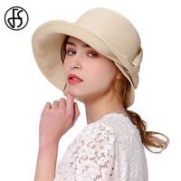 FS Vintage Design Hepburn Wind Style Summer Straw Beach Hat For Women Wide Brim Floppy Hats