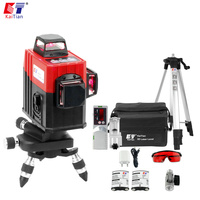 KaiTian 3D Laser/Level 12 Lines Receiver Cross Vertical Beam Horizontal 360/Rotary/Self Leveling/Tripod/Construction/Laser Tool