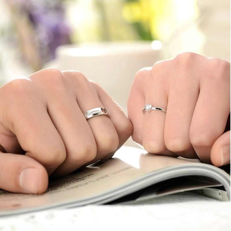 OMHXZJ gros personnalité mode OL femme fille fête mariage cadeau amoureux coeur AAA Zircon 925 bague en argent Sterling RN139