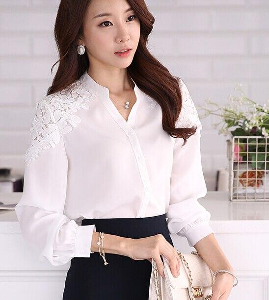 Free Shipping Individual Hot Sale Leisure Lace Decorated Lantern Sleeve Woman Chiffon Blouse White