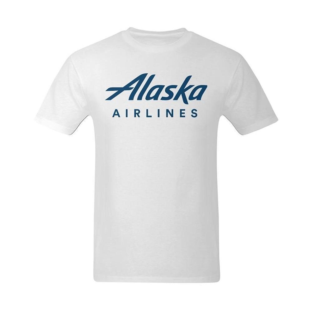 Desain t shirt kerah - 2017 Katun Pria T Shirt Pria Kasual Tees Mens Tops Pria Alaska Airlines Klasik Desain Logo T Shirt Pria T Shirt Kerah Bulat Tee