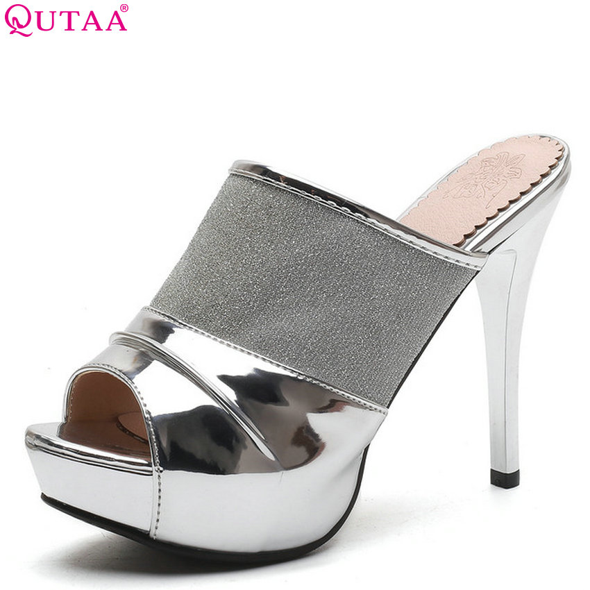 QUTAA 2018 Women Sandals Slip on Women Shoes Platform Thin High Heel Peep Toe Black Nightclub Style Women Sandals Size 34-43