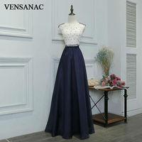VENSANAC 2017 New A Line Beading O Neck Long Evening Dresses Sleeveless Elegant Crystal Lace Tank