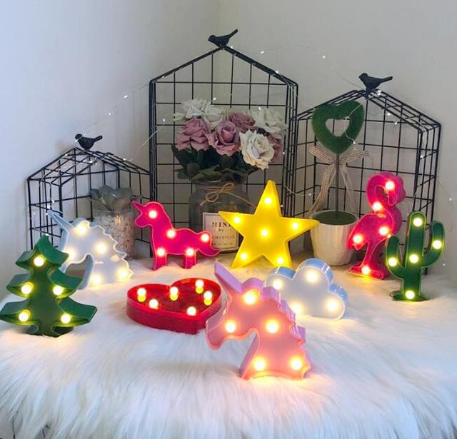 Ins hot style chic wind in South Korea led the flamingo cactus pineapple clouds decoration lamp letters a night light