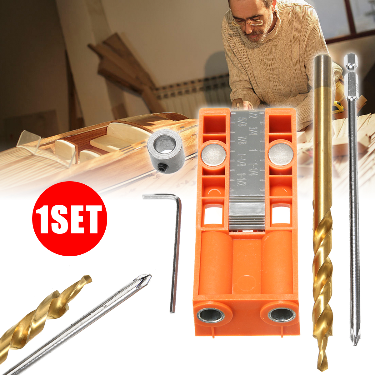 1 set New Jig R3 Pocket Hole Jig Kit Pocket Hole Wood Joinery Step Drill Bit woodworking Inclined hole locator