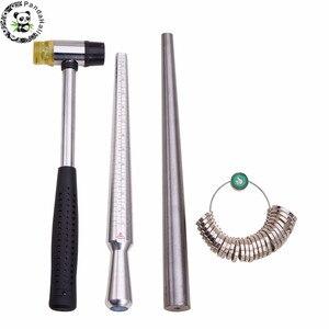 Image 1 - 4 teile/satz Ring Enlarger Stick Dorn Griff Hämmer Ring Sizer Finger Messung Stick Schmuck Werkzeuge über 25 ~ 28cm/1,1 cm F80
