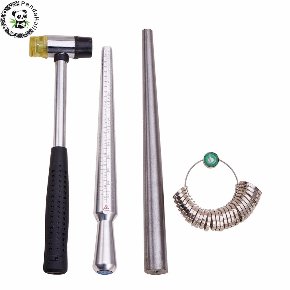 4pcs/Set Ring Enlarger Stick Mandrel Handle Hammers Ring Sizer Finger Measuring Stick Jewelry Tools about 25~28cm/1.1cm F80