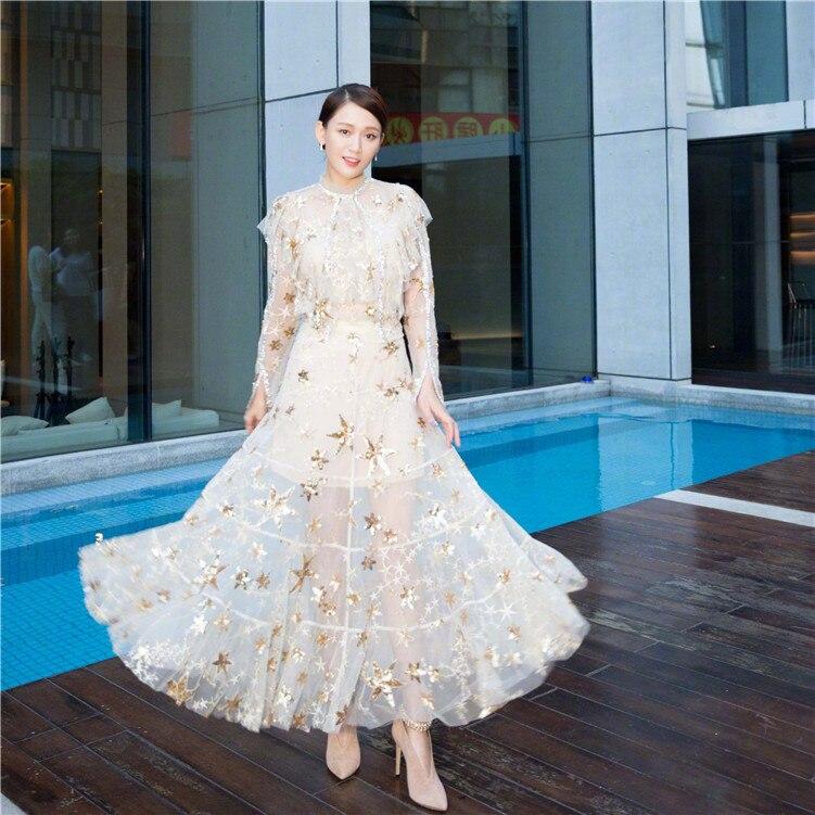 Nuovo industrie stelle sequins del ricamo prospettiva della garza fata vestito di stile di autunno-in Abiti da Abbigliamento da donna su  Gruppo 3