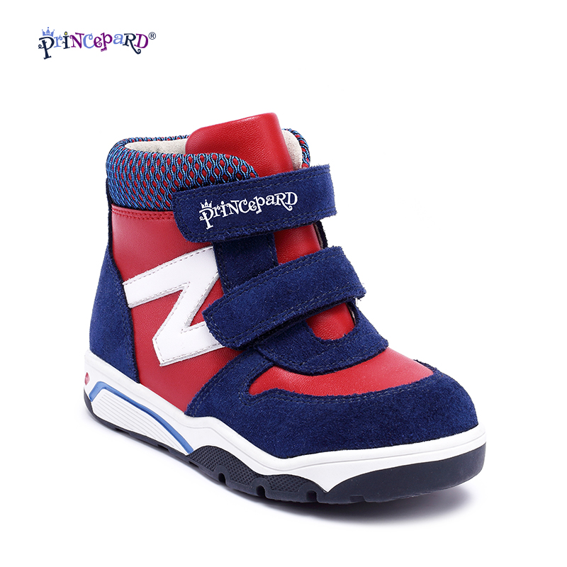 Princepard New Autumn Winter navy pink kids shoes boys orthopedic sneakes leather baby boys children shoes kids baby