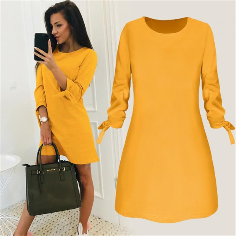 Ladies One-pieces Dress Solid Color Rounded Neck Long Sleeves Casual Dress For Spring Autumn IK88