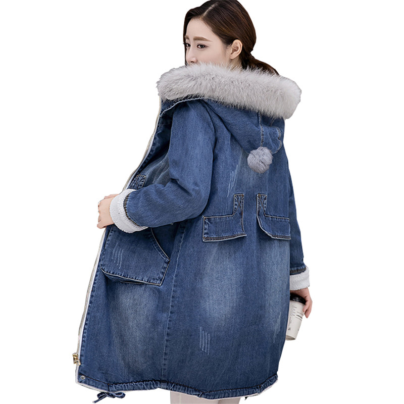 Winter Women Denim Cotton Jacket 2018 New Large Size Mid-Long Plus Velvet Female Outerwear Thick Fur Collar Ladies   Parkas   Cw245