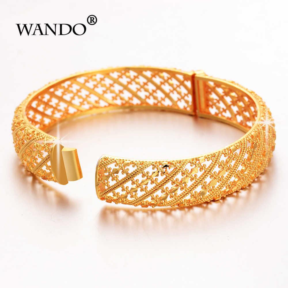 WANDO 1 adet Altın renk Dubai düğün Bilezik Kadınlar için Moda geniş Bilezik Arap Afrika Arapça stil can açık takı giftsB183