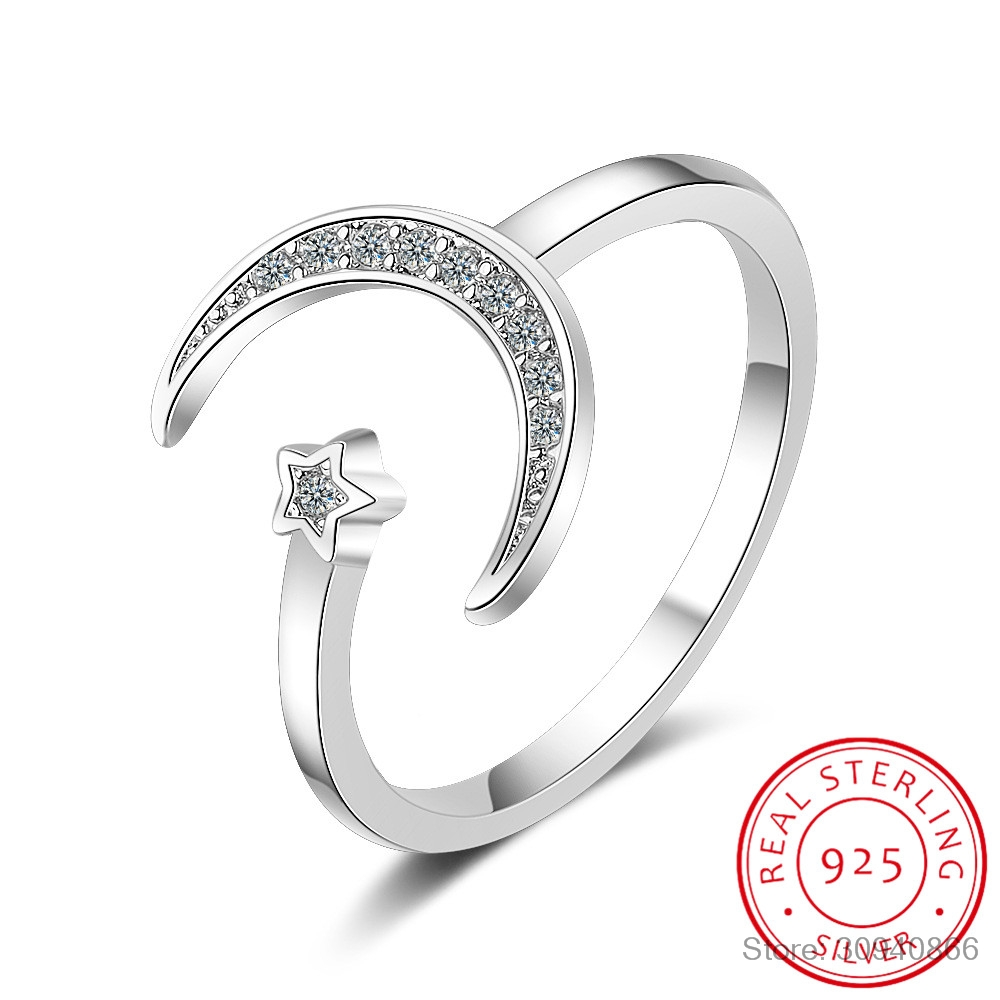 100% 925 Solid Real Sterling Silver Fine Jewelry Moon Star CZ Cocktail Opening Ring Sizable For Women Girl Gift DA27