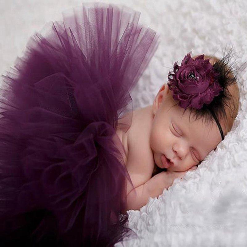 elegant purple newborn photography props baby girl lace tutu skirt flower headband set robe de. Black Bedroom Furniture Sets. Home Design Ideas