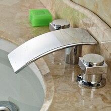 Ванная комната Chrome Водопад Ванна Кран Раковины Двойной Ручкой Широкое Латунь Смеситель Водопроводные Краны