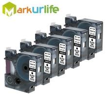 Cartouches d'étiquettes de remplacement D1 45013, noir sur blanc, 5 paquets, Compatible avec Dymo étiqueteranager Writer Maker 280 160 260P