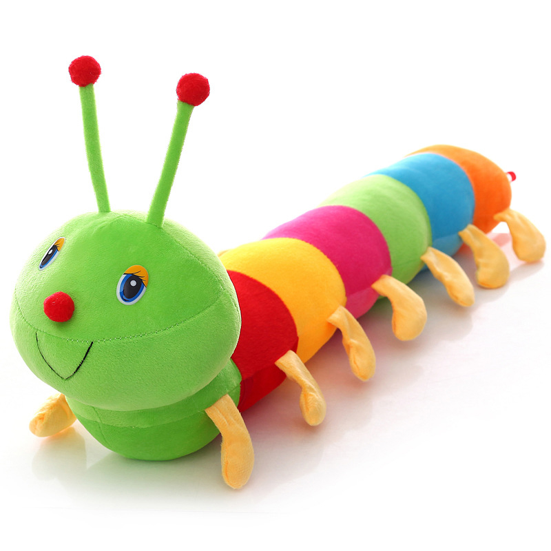 50CM Colorful Long Cognitive Plush Worm Stuffed Doll Toys Soft Worm Cushion Educational Gift For Birthday