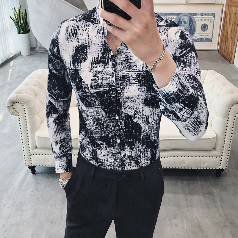 Imprimé chemises décontractées pour hommes 2019 Slim Fit scène fête bal Camisa Hombre Vintage Chemise Homme Manche Longue de haute qualité S45