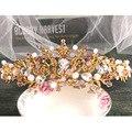 Corea joyería de la boda de novia de color rosa púrpura flor de cerámica ornamentos del pelo de oro corona tocado nupcial 1322