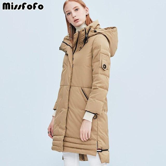 MissFoFo 2018 Новый Для женщин утка вниз широкий талией толстый молнии карманы длинные Для женщин пальто Размеры S-XXL теплые и удобные