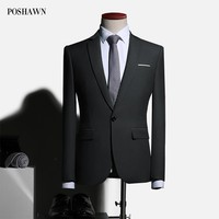 POSHAWN Black/White/Burgundy Suit Jackets Wedding Mens Casual Coat Ready Made Mens Bussnes Quality Slim Fit Formal Blazers 2018