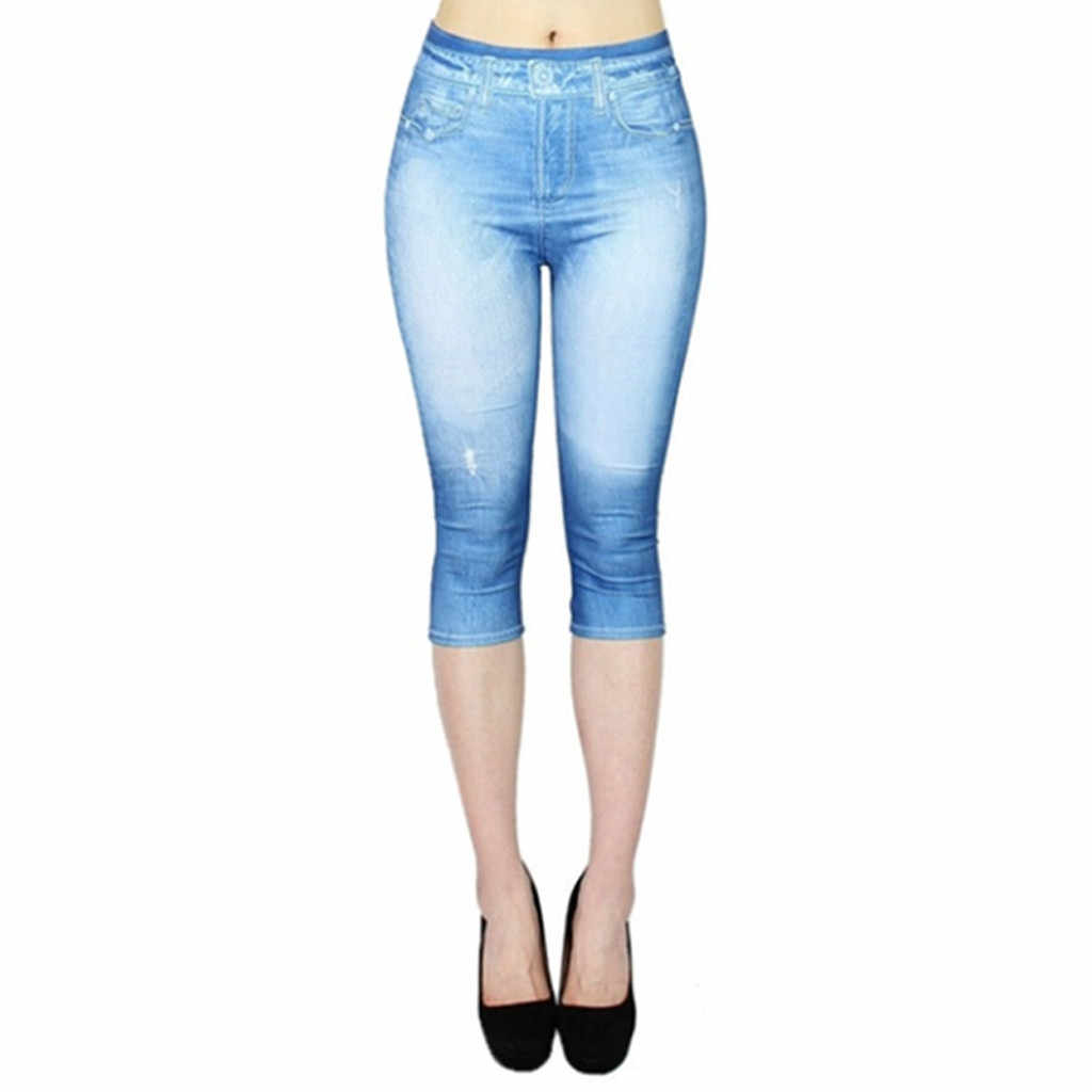 Leggings femininos de cintura alta jean-like impresso elástico panturrilha comprimento yo-ga calças joggng senhoras workout fitness leggings sweatpants