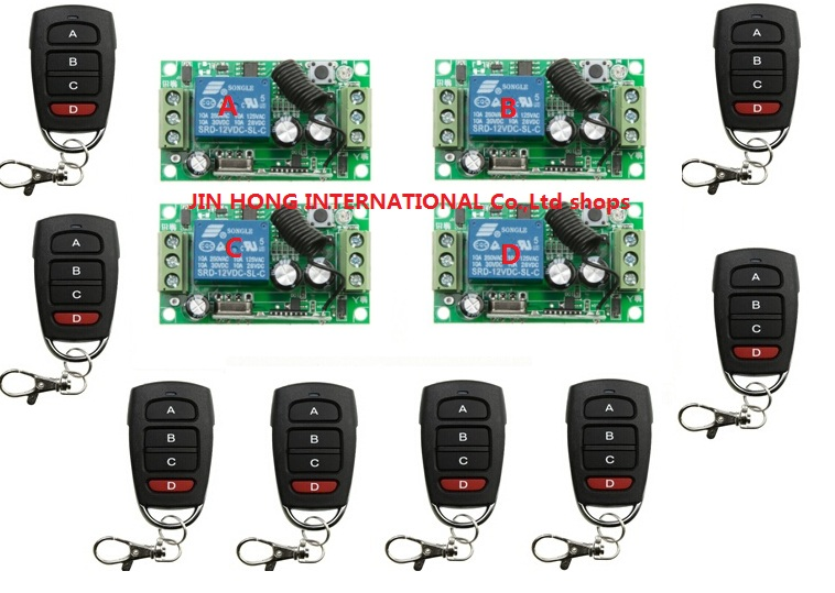 RF Wireless Remote Control Switch System DC12V 1CH 8 pcs transmitter & 4 pcs receiver Simple household dc24v 15ch rf wireless switch remote control system receiver