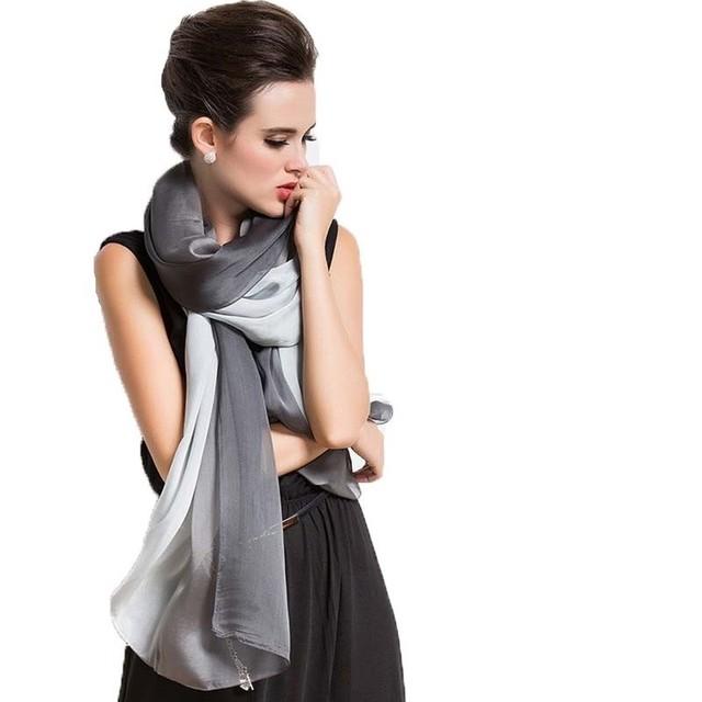 Bufandas High End Designer De Marca Lenço De Seda das Mulheres Colorblock Longo Big Size Cachecóis Lenço de Seda Gradiente Tie-dye cachecol