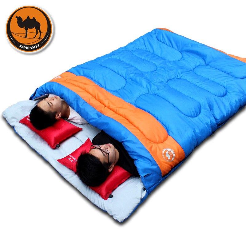 Nouveau pratique double personne sac de couchage en plein air camping adulte sac de couchage amant couple voyage temps chaud utiliser sac de couchage