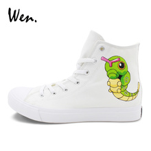 Wen Pocket Monster Custom Design Anime Hand Painted Shoes Pokemon Caterpie Canvas Sneakers Mens Womens Skateboarding Shoes